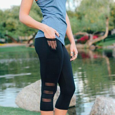 Women Long Pants Fashion Knee Hollow Out Sport Tights Fitness Jogging Trousers R
