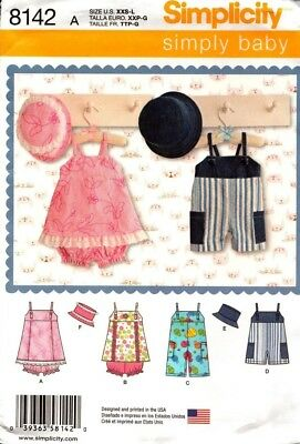 Simplicity Sewing Pattern 8142 Baby Overalls, Romper, Hat in Sizes XXS-L