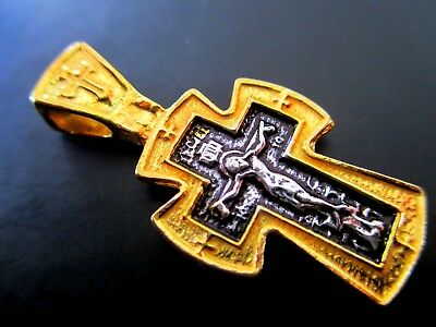 Gilded Sterling Silver Bilateral Russian Orthodox, Cross, Pendant From Jerusalem