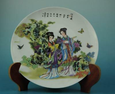 Chinese antique hand-made famille rose porcelain Hand painted belle plate b01
