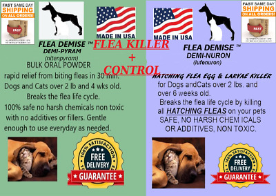 Instant Flea killer 5000mg oral powder + 8000mg Hatching Flea killer - Dogs Cats