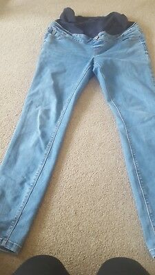 New Look Maternity Size 12 Blue Skinny Jeans Over The Bump