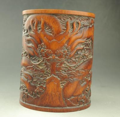 Chinese old  Exquisite  hand engraving dragon bamboo brush pot  /42 d02