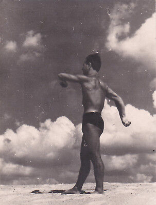 1950s Handsome nude muscle man on the beach gay interest Russian Soviet photo