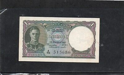 Government of Ceylon one rupee 1947 in crisp AU