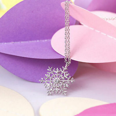 Hot Charm Jewelry Frozen Snowflake Crystal Chain Necklace Pendant Christmas Gift