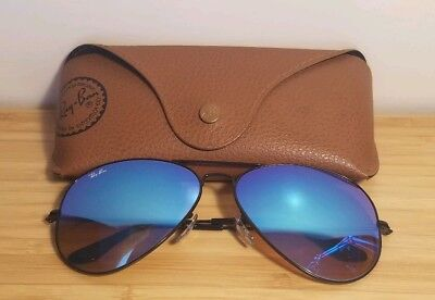 AUTHENTIC RAY BAN AVIATOR RB3025 002/4O 62MM BLUE MIRROR LENS BLACK FRAME W/Case