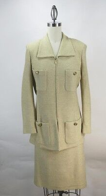 ST JOHN COLLECTION by MARIE GRAY 2PC TWEED Knit SUIT JACKET  SZ 8 SKIRT SZ 10
