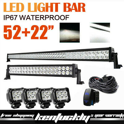 """52Inch LED Light Bar + 22in +4"""" CREE PODS OFFROAD SUV 4WD ATV VS 52/42/20 US"""