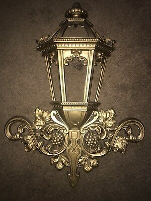 """Vintage  Homco Syroco Lantern Design Wall Hanging With Antique Gold Finish 25"""""""