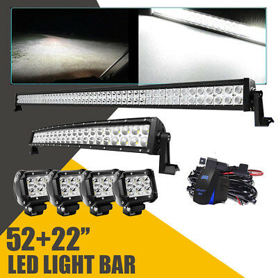 """52Inch 50 LED Light Bar + 22in Curved +4"""" CREE PODS OFFROAD SUV 4WD ATV VS 42/20"""