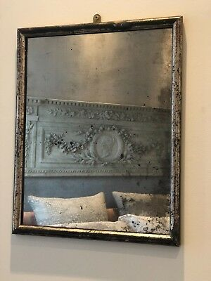 French Antique Silver Mercury Glass Mirror