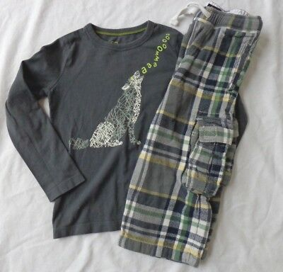 Mini Boden Boys Size 4/5 Long Sleeve Wolf Shirt and Flannel Pants Outfit