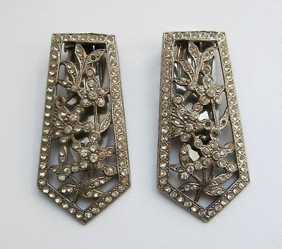 BN Vintage 1930s Deco Pair of Silver Metal Dress Clips w/ Clear Stones Deadstock