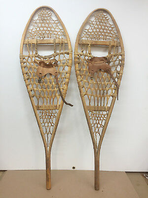 """Old Antique Vintage 14"""" X 48"""" Indian Made Snowshoes Usable Or Decor"""