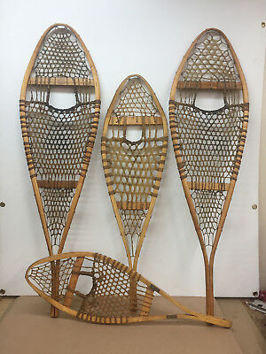 Lot Of 4 Old Antique Vintage Indian Made Snowshoes For Decor Or Arts And Craft