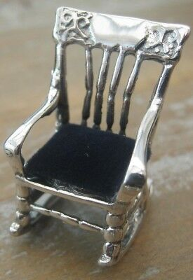 Novelty Antique Style Rocking Chair Solid Silver Pierced Pin Cushion
