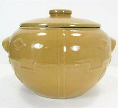 Monmouth Western Stoneware Pottery Greek Key Design Covered Bean Pot Tan