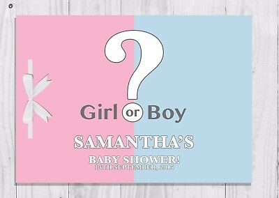 PERSONALISED Gender Reveal Baby Shower Guest Book, Keep Sake, Game, Boy or Girl