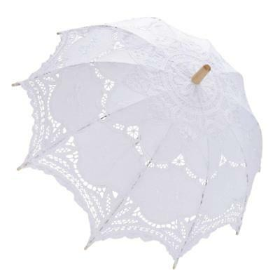 Vintage Lady Handmade Cotton Lace Parasol Sun Umbrella Wedding Bridal Party Show