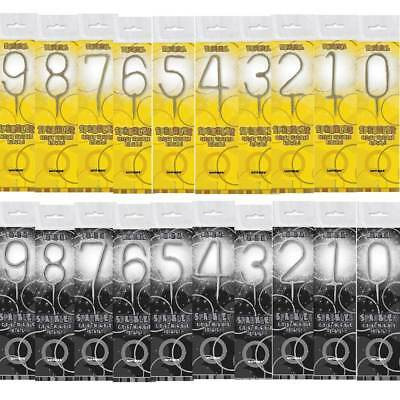 Number Sparklers For Birthday Cakes, Numbers 0-9 Gold Silver