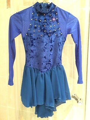 Girls ice skating dress, Blue, Small