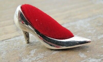 A Beautiful Miniature Solid Silver Shoe Pin Cushion -  Stiletto - High Heel