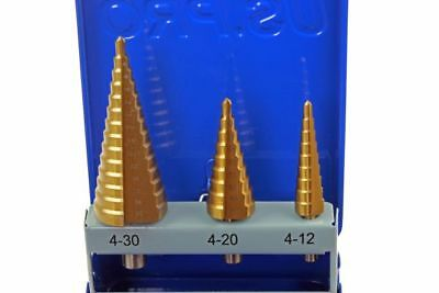 US Pro 3 Piece Titanium Coated HSS Step Cone Drill Set 4mm-30mm 2645