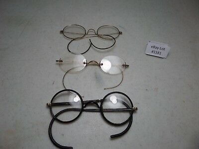 (Lot #1581) Vintage Wire Frame Eyeglasses Lot of 3 12K Gold Filled