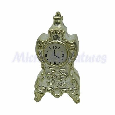 Dolls House Silver Mantle Clock 1/12th Scale (01156)