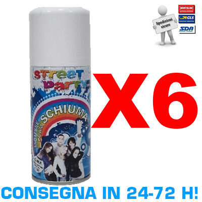 Street Party Schiuma Spray 6 Bombolette da 150 ml Carnevale Feste Scherzi Mousse