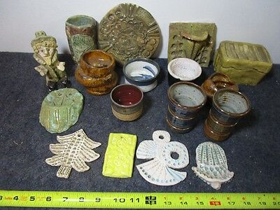 lot of small handmade pottery art dishes ornaments trinket box candle holder