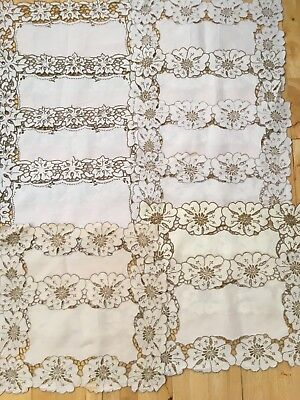 Vintage Linen Madeira Work Hand Embroidered Place Table Mats x 12