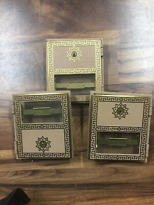 Vintage Post Office Doors Brass w/ Glass And Keys Set of 3