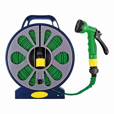 50ft FLAT HOSE PIPE SPRAY GUN NOZZLE SET WITH REEL STAND GARDEN OUTDOOR WATERING