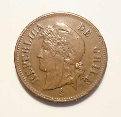 1898-So Chile 1 Centavo.  Very Nice Brown Coin