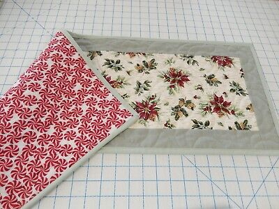 Table runner quilt with Longaberger Botanical Christmas Poinsettia fabric