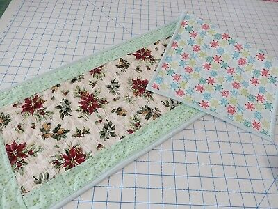 Table runner quilt with Longaberger Botanical Christmas fabric