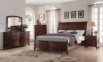 CONTEMPORARY STYLE WALNUT Finish Bedroom Furniture Eastern ...