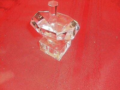 """CLEAR Glass Dreidel With a Stand 3"""" Etched Hebrew Letters"""