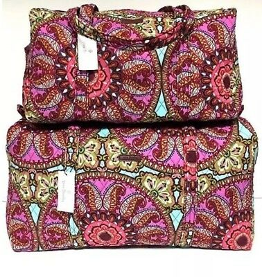Vera Bradley Resort Medallion Quilted SMALL & LARGE DUFFEL Bag Set Luggage NEW