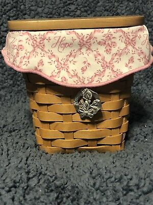 Longaberger 2004 Horizon Of Hope Basket With Lid, Tie-on, Liner And Protector
