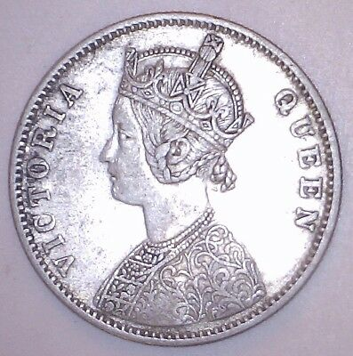 1875-B India-British Silver Rupee Coin. Bombay Mint Type A Bust