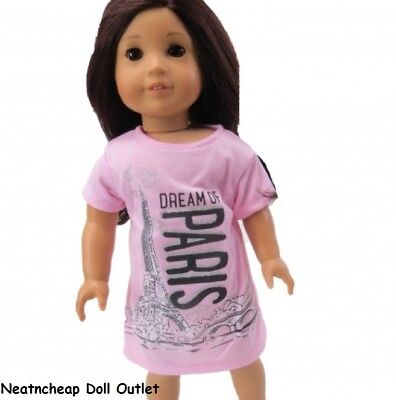 "Dream Paris Nightgown Sleep Pajamas PJs Doll Clothes Fits 18"" American Girl"