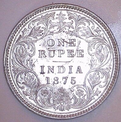 British India 1875-C Queen Victoria Silver One Rupee KM#473.2