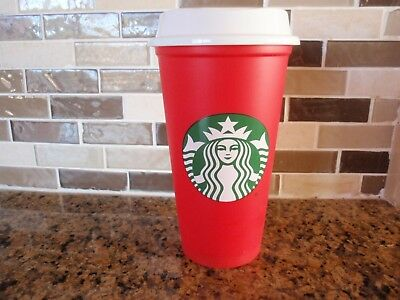 NEW STARBUCKS RED REUSABLE HOLIDAY CUP 2018, 16 oz, LIMITED, 50 Cent Off Drinks!
