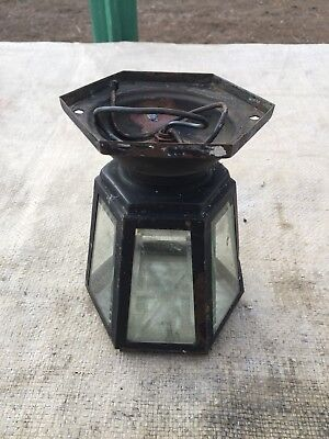 Vintage Mid Century Brass Porch Ceiling Light Fixture or Entryway