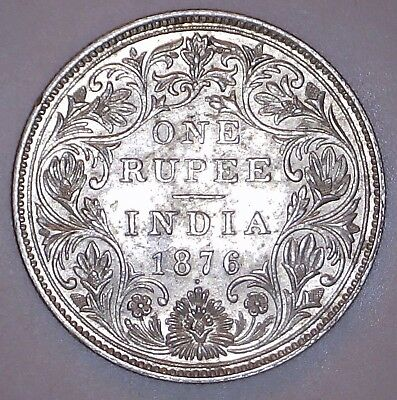 India-British 1876 One Rupee Silver Coin. KM# 473.2