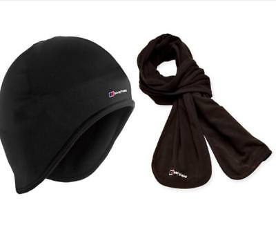 Quality Berghaus Hat Scarf Set Fleece Winter Warmth Windproof Beanie Set Black