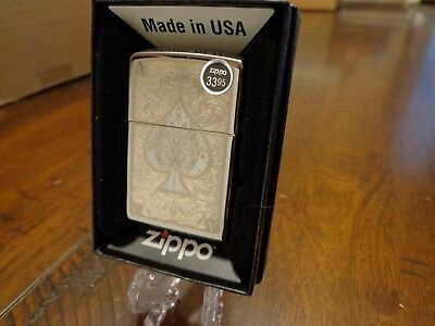 Ace Of Spades Filigree Black Ice Zippo Lighter Mint In Box 2012